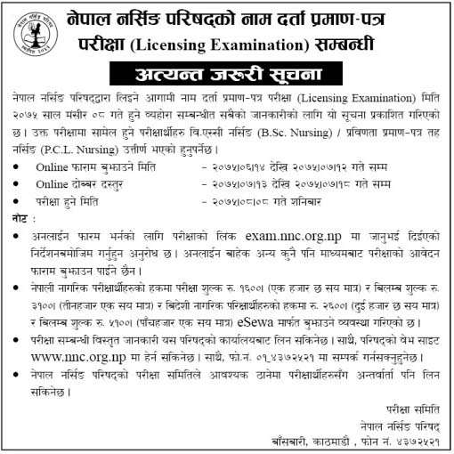 Licensing Examination Notice Nepal Nursing Council