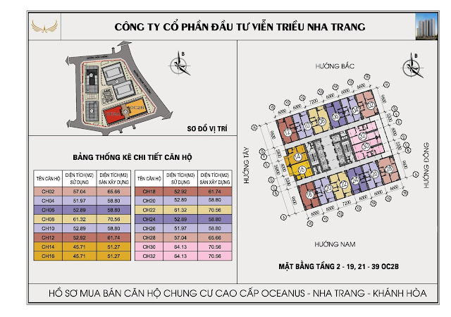 Mặt bằng tổng thể tòa OC2B Viễn Triều Nha Trang