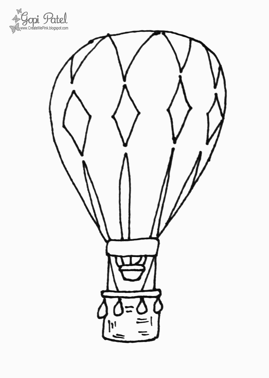 Create Me Pink Digital Stamps Hor Air Balloon Digi