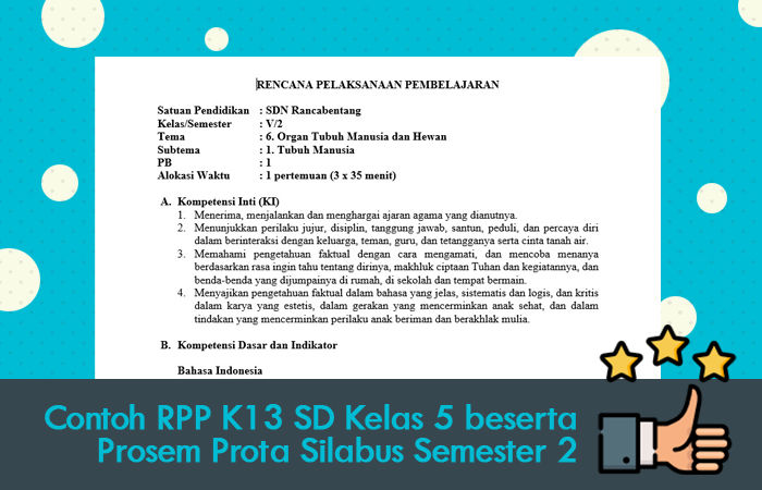 Contoh RPP K13 SD Kelas 5 beserta Prosem Prota Silabus Semester 2