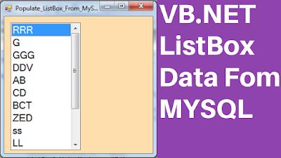 Fill ListBox From MySQL DataBase In VB.Net
