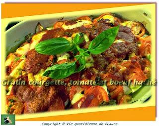 Vie quotidienne de FLaure: Gratin courgette, tomate et bœuf haché