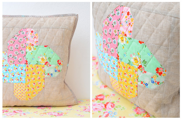 Winsome pillow by Ellis and Higgs found on A Bright Corner - pattern from the Fresh Fat Quarter Quilts Book by Andy Knowlton