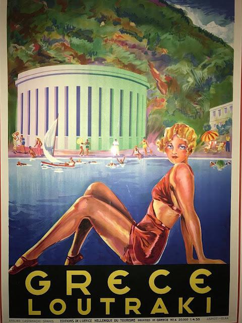 Vintage travel poster for Loutraki Greece