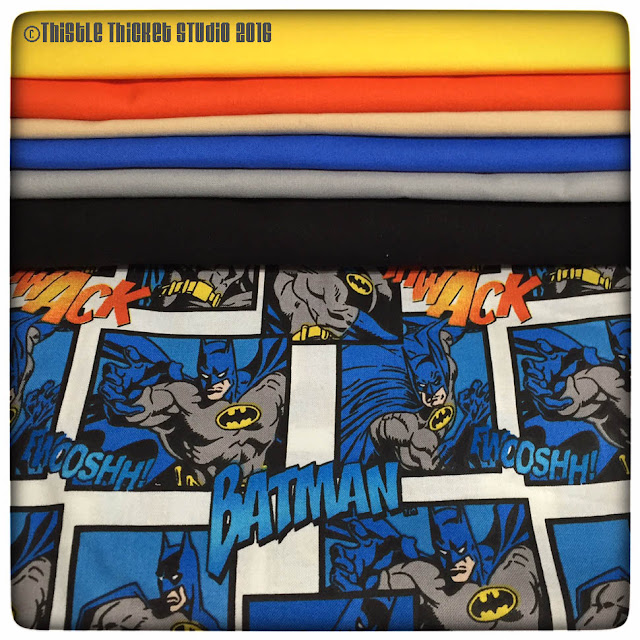 Batman Fabric, Kona Solids, Thistle Thicket Studio, sewing