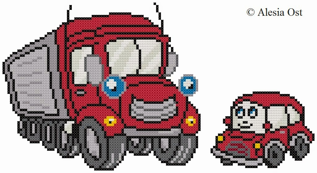 Free cross-stitch patterns, Mechanical Friends, cartoon, car, truck, cross-stitch, cross-stitch scheme, free pattern, x-stitchmagic.blogspot.it, вышивка крестиком, бесплатная схема, punto croce, schemi punto croce gratis, DMC, blocks, symbols