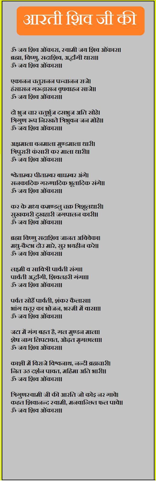 Aarti Shiv Ji Ki- ॐ जय शिव ओंकारा – Om Jai Shiv Omkara- आरती शिव जी की