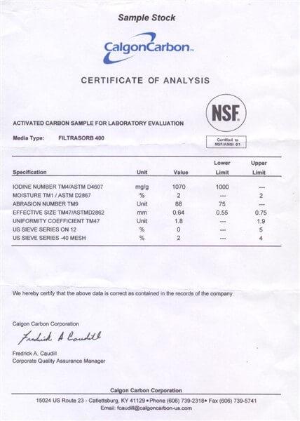 Sertifikat Analisis (COA) Karbon Aktif Calgon FiltraSorb 400