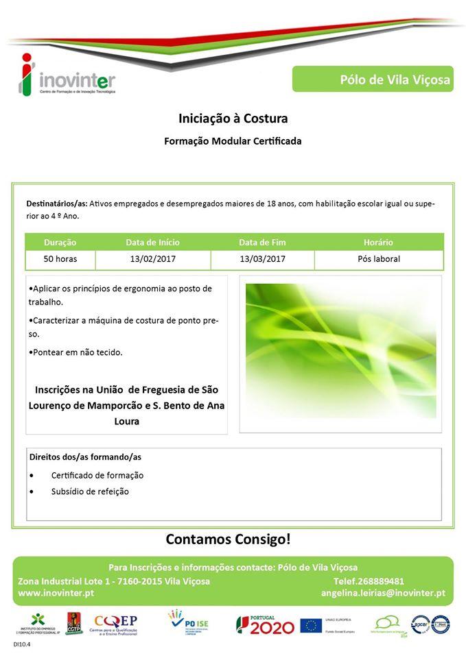 Curso gratuito / subsidiado de iniciação à costura em Estremoz