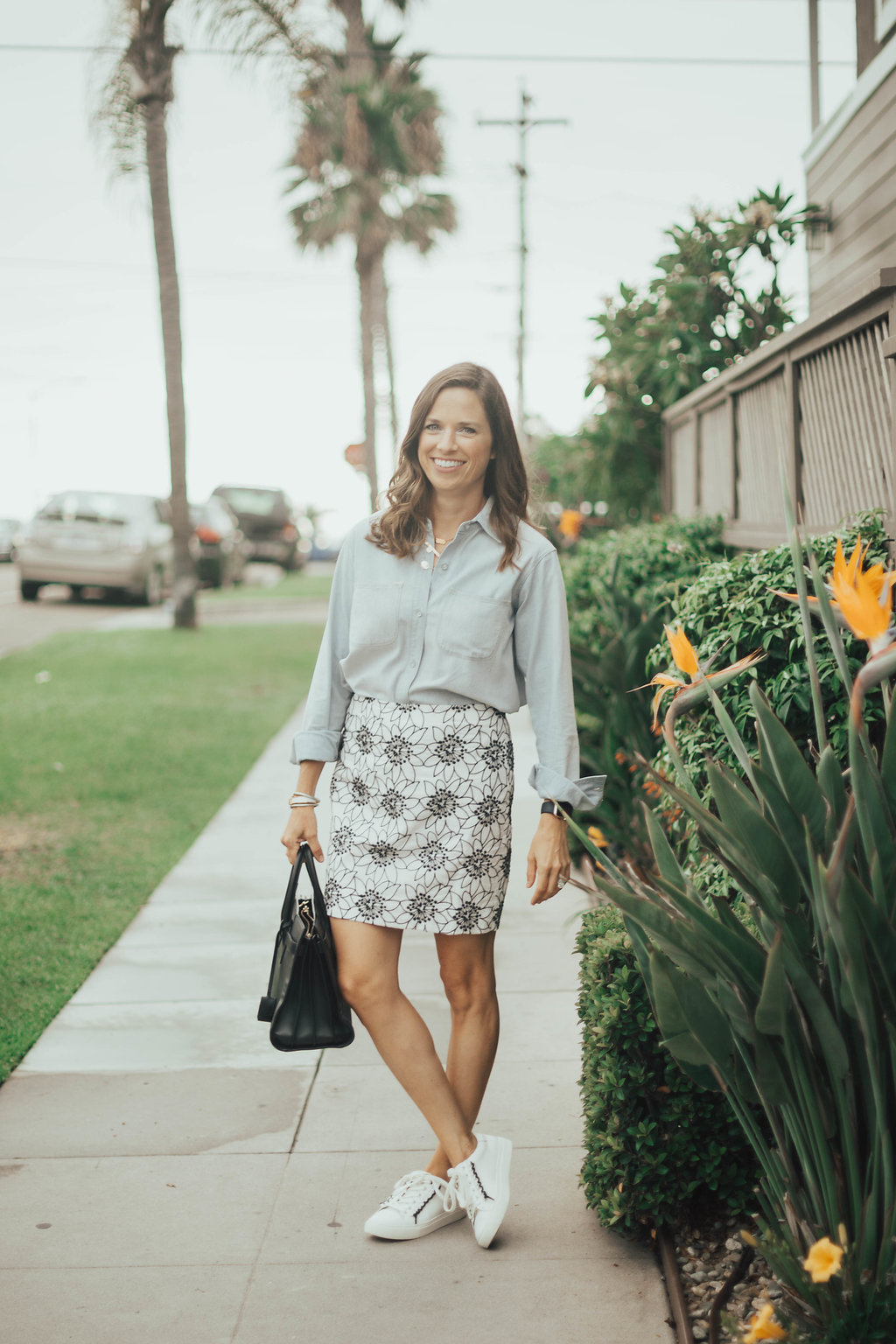 chambray and skirt outfit