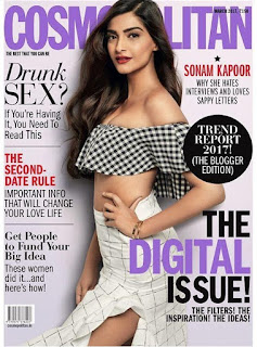 Sonam Kapoor in small crop top High Rise Leg Split Skirt for Cosmopolitan India magazine March 2017