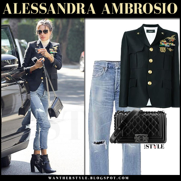 Alessandra Ambrosio in black blazer with gold brooches and medals dsquared2 chesty candy, ripped jeans citizens of humanity liya and black quilted bag chanel boy what she wore
