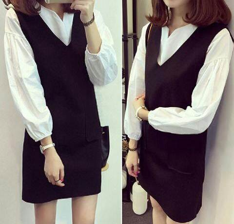 Jual Blouse 2 In 1 Dress Black And White - 12593
