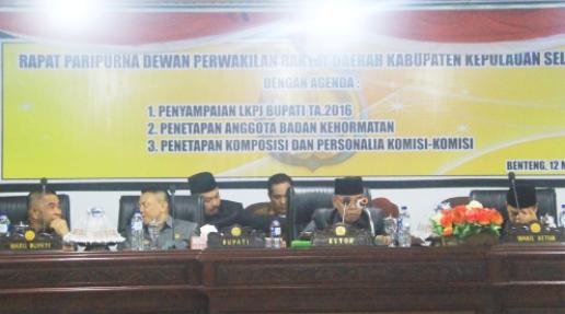 DPRD Selayar Gelar Sidang Paripurna, Penyampaian LKPJ Bupati TA 2016