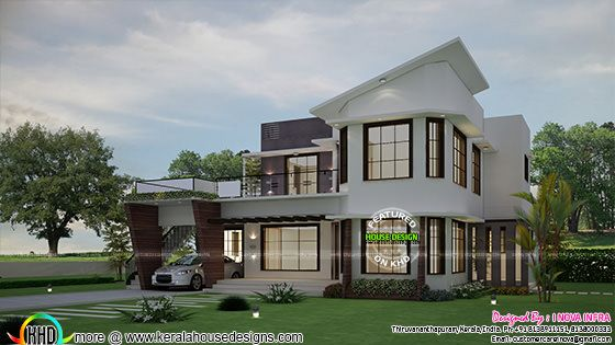 5 BHK unique modern home plan
