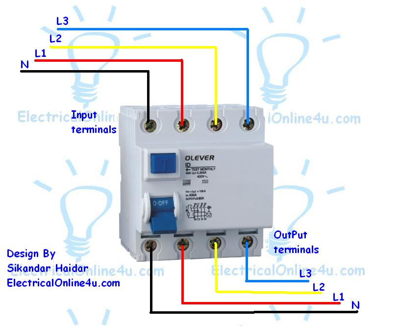 how to wire a 4 pole rcd circuit breaker for 3 phase 4 wire