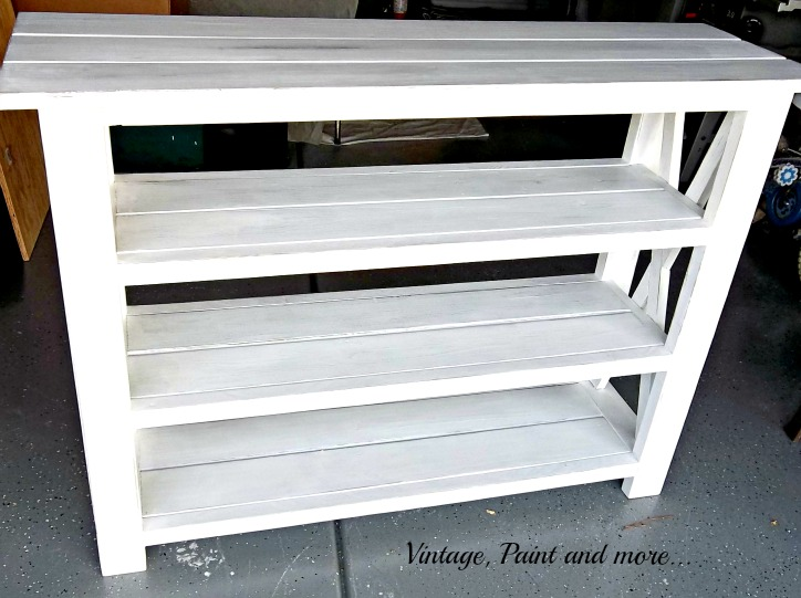 Vintage, Paint and more... beach inspired rustic x shelf from Ana White