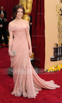 Charming A-line Off-the-shoulder Flowers Long Slit Chiffon Overlay Lace Designer Anna Kendrick Oscar Prom Dress