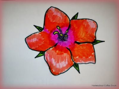 A Scarlet Pimpernel on the Virtual Fridge, an art link-up hosted by Homeschool Coffee Break @ kympossibleblog.blogspot.com