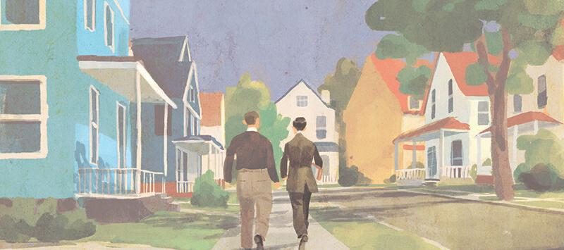 arte de Thomas Campi com Joe Shuster e Jerry Siegel andando numa calçada