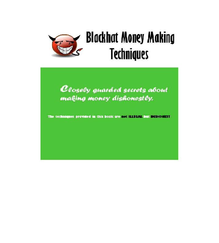 Blackhat Money Making Techniques Get Awesome Ideas - The