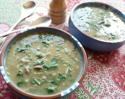 Artichoke, Mushroom & Spinach Soup