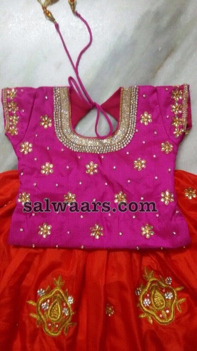 Orange Pink Dual Shade lehenga