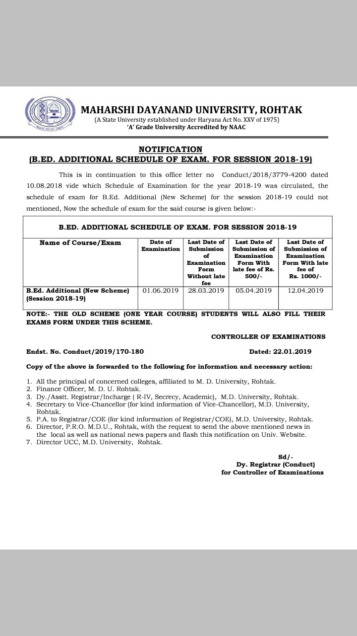 B.Ed Additional form available of MDU Rohtak for session 2018-19