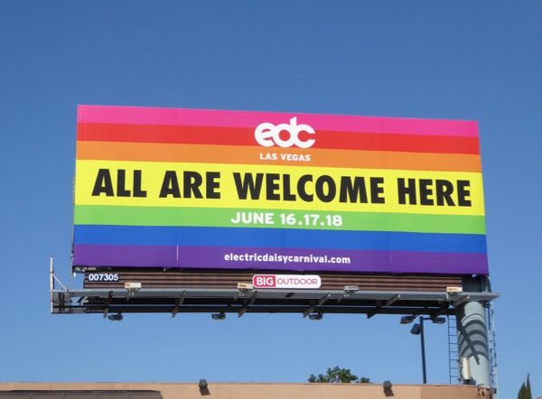 Electric Daisy Carnival Las Vegas All Welcome Here billboard