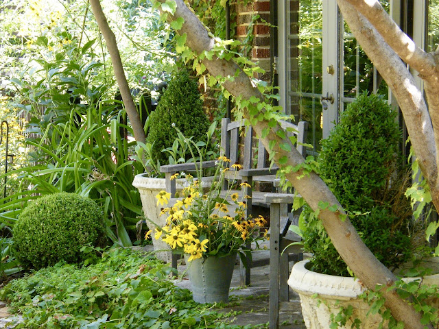 Garden chairs, boxwood cones in pots and a bucket full of summer blooms sits on the stone porch in front of french doors.