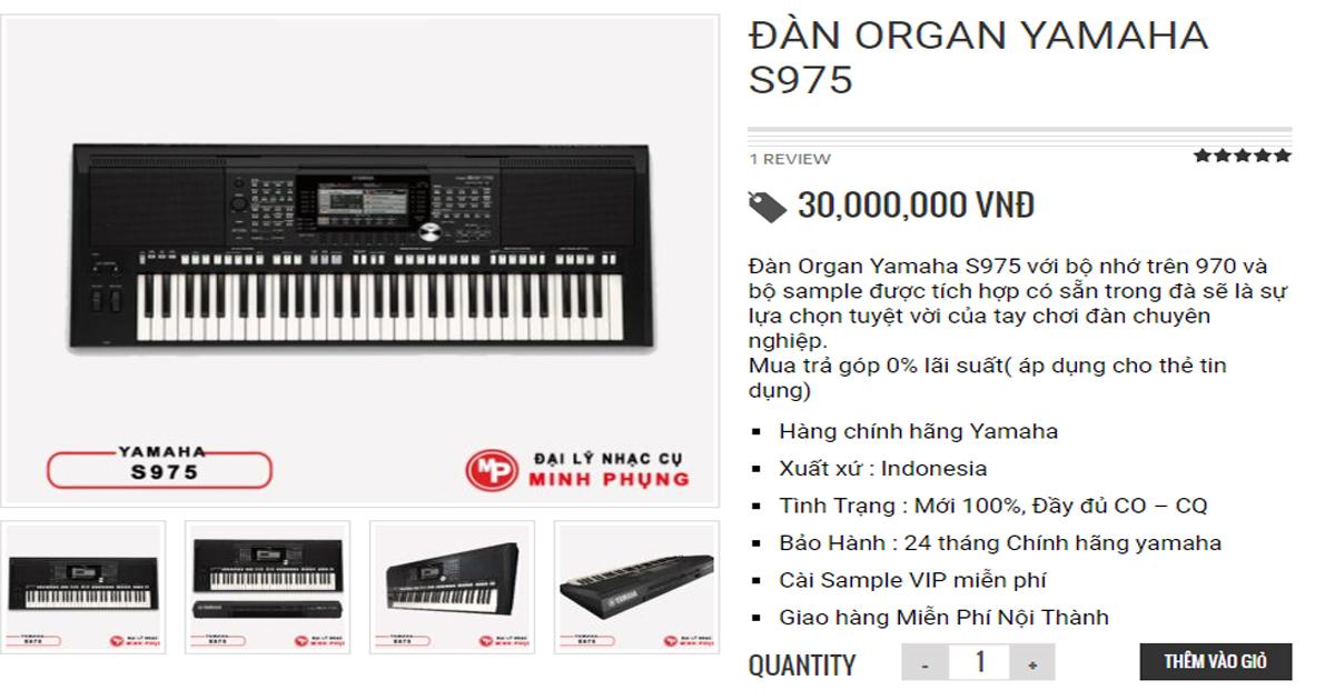 Đàn organ Yamaha S975 loại tốt nhất có giá bán 30.000.000 VNĐ