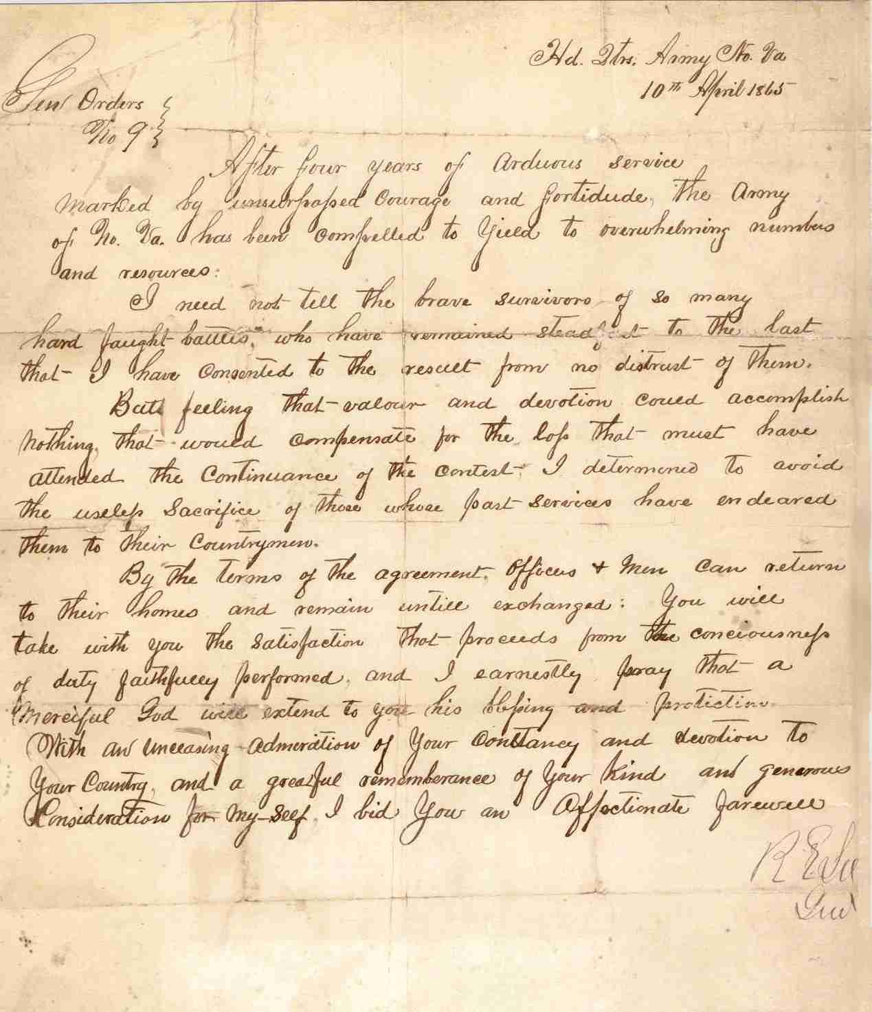 Robert E Lee General Order Number 9