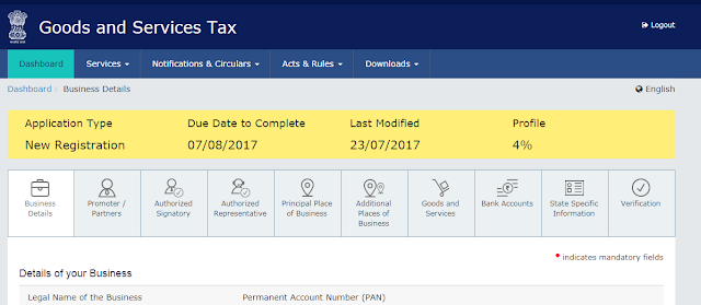 GSTIN PArt B regsitration portal business details
