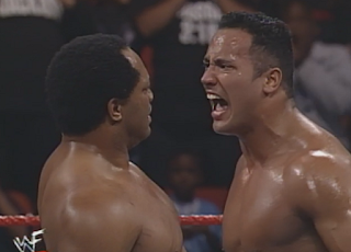WWE / WWF In Your House 20: No Way Out of Texas - The Rock yells at Farooq after their match
