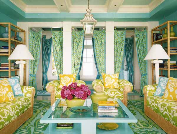 Traditional living room in green yellow paint color