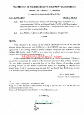ssc Public Examinations, March-2019-Providing certain exemptions and  concessions to the Children with Special Needs (CwSN) in SSC Examinations  and other examinations of classes VI to X-communication of G.O. issued,Rc.160