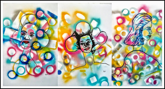 Abstract Art Face Painting, on Paperbordsby Miabo Enyadike