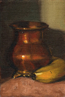 Oil painting of a small copper vase beside a banana.