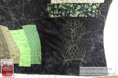 Owl quilt - bottom corner quilted owl