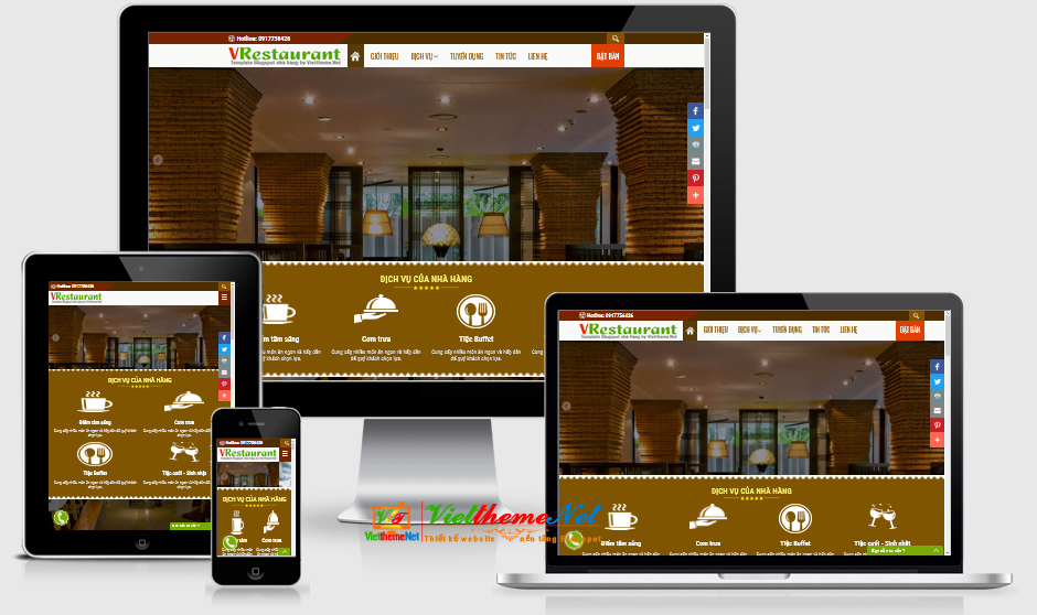 VRestaurant Template Blogspot dành cho nhà hàng sang trọng responsive