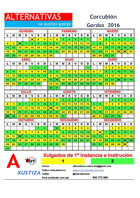 Corcubión. Calendario gardas 2016