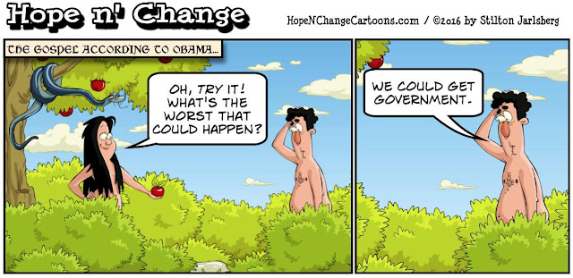 obama, obama jokes, political, humor, cartoon, conservative, hope n' change, hope and change, stilton jarlsberg, hillary, original sin, adam and eve