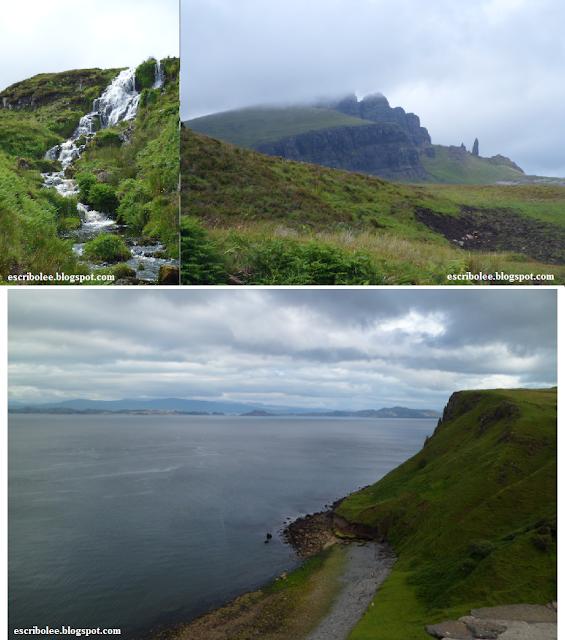 Viaje a Escocia día 5 Cascada desde donde tiré la foto a Old Man of Store, las famosas rocas y vistas desde acantilado