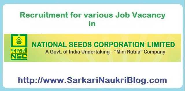 Naukri Vacancy Recruitment in National Seeds Corporation
