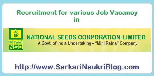 Naukri Vacancy Recruitment in National Seeds Corporation