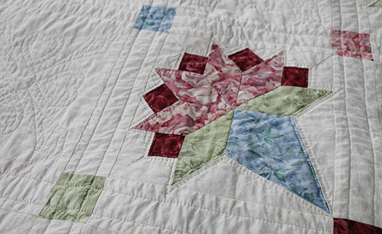 Details of Hand Quilting on Brides Bouquet Quilt Block