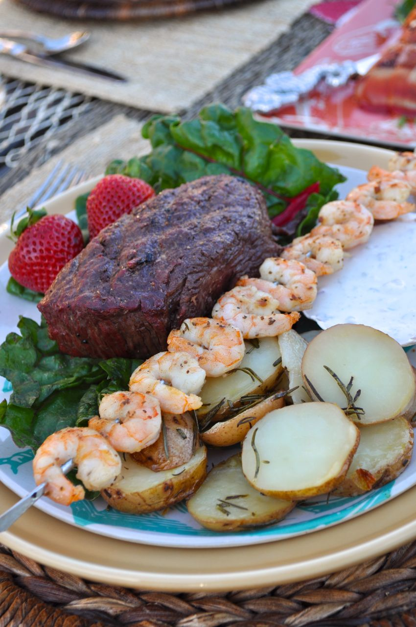 Amazing Surf And Turf Dinner Party Ideas Part - 3: Surf And Turf Dinner Party + Rosemary Potato U0026 Yogurt Dipping Sauce Recipe  - Make Life Lovely