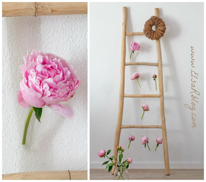 Houten trap zelf decoreren met verse pioenrozen diy decoratie elsarblog - Deco houten trap ...