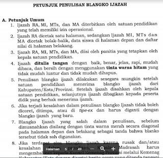 Juknis Penulisan Ijazah RA, MI, MTs Dan MA Tahun 2019