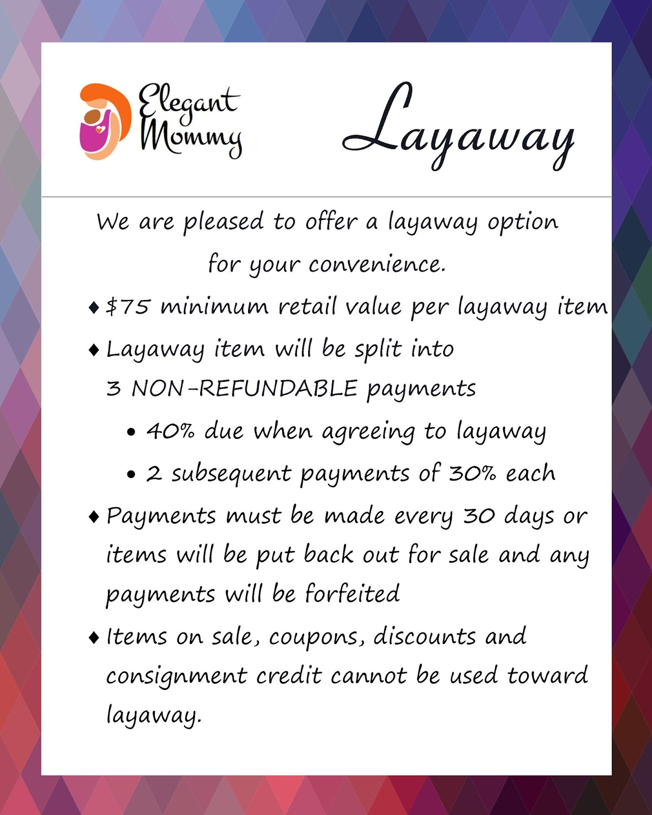 For Educated And Elegant Mommies Layaway At Elegant Mommy